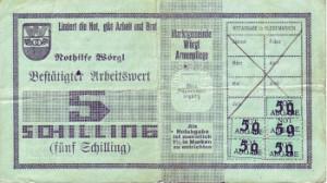 Réplica de uma nota de Worgl, onde se podem ver os selos referentes à